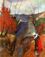 Paul Gauguin paintings artwork of Breton Woman with Pitcher 1888