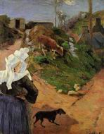 Paul Gauguin paintings artwork Breton Women at the Turn 1888
