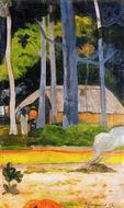 Reproduction Paul Gauguin paintings Cabin under the Trees 1892