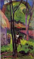 Reproduction of Paul Gauguin art Cavalier devant la case 1902