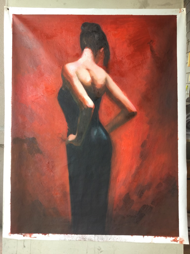 Reproductions of Henry Asencio's fine art,elegance black dress