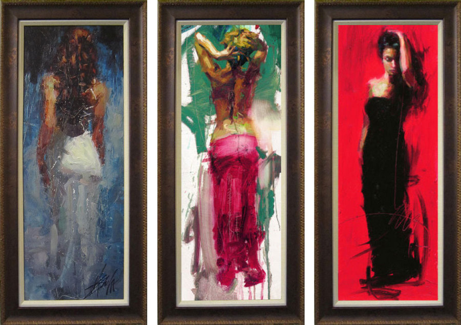 "3 pcs of 12x32"" framed Reproduction Henry Asencio's oil painting"