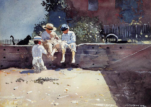 Reproductions of Winslow Homers Paintings Boys and Kitten