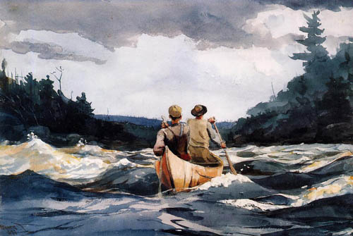 Reproductions of Winslow Homers Paintings Canoe in the Rapids