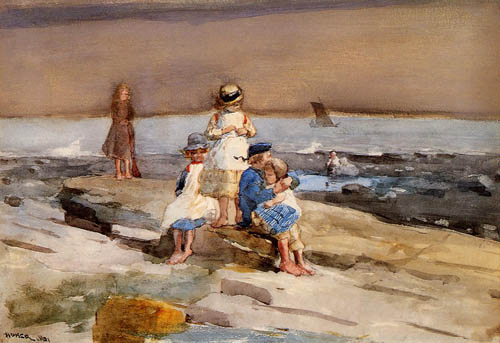 Reproductions of Winslow Homers Paintings Children on the Beach