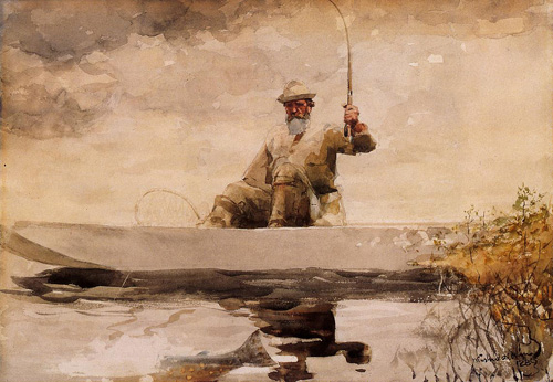 Reproductions of Winslow Homers Paintings Fishing in the Adirond
