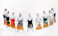 Reproductions of KapakaweB's painting art,Sumo wrestlers