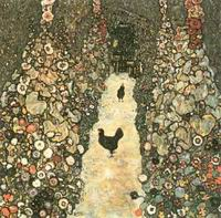 Gustav Klimt Paintings Artwork Garden Path with Chickens 1916