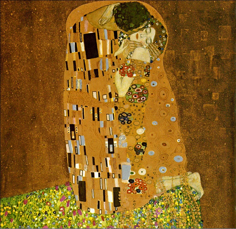 Reproductions of Gustav Klimt's paintings, The Kiss 1907-08