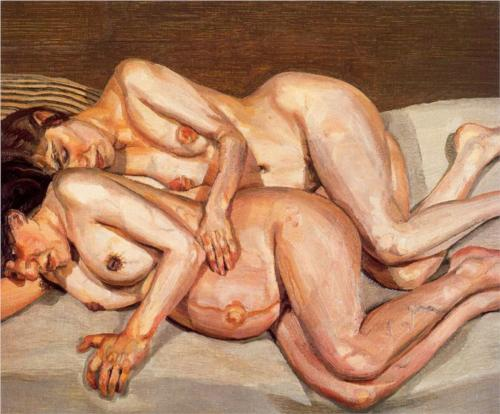 Reproduction of Lucian Freud Painting art, Annie and Alice, 1975