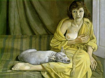 Reproduction of Lucian Freud Painting art -Girl with a white dog