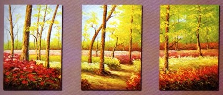 Autumn Forest Modern Abstract Oil Painting on canvas 3 pcs