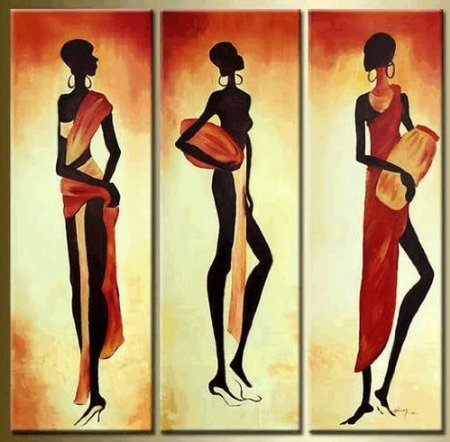 African Girl Modern Abstract Oil Painting for Home Decals