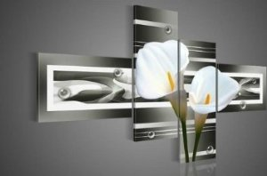 Pure White Lilies Modern Abstract Oil Painting on canvas