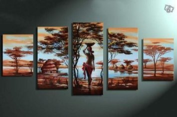 African Tribe House and Beauty Modern Abstract Oil Painting