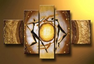 Modern Abstract Oil Painting on canvas Around the Sun 5 pcs