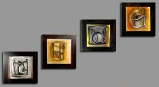 Modern Abstract Oil Painting on canvas 4 pcs of Cups