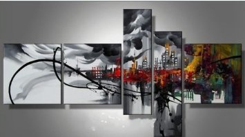 Modern Abstract Oil Painting on canvas Prosperous City 5 pcs
