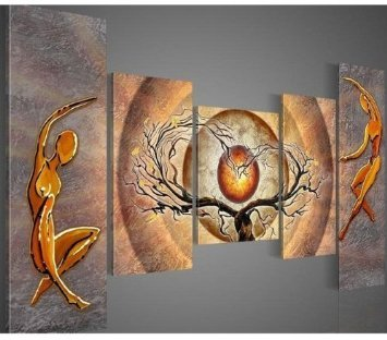 Dancing around Tree Modern Abstract Oil Painting on canvas 5 pcs