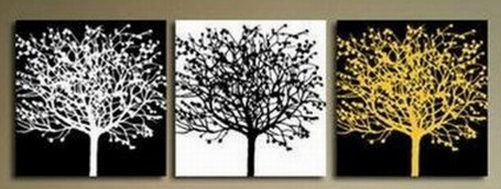 Modern Abstract oil painting on canvas 3 pcs of Trees