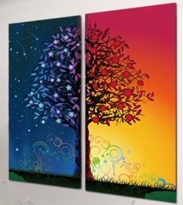Modern Abstract Art on canvas with A riot of colours of the tree