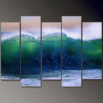 Sea Wave Modern Abstract Oil Painting on canvas 5 pcs