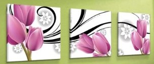 With The Purple Tulip Growth Modern Abstract Art On Canvas 3 pcs
