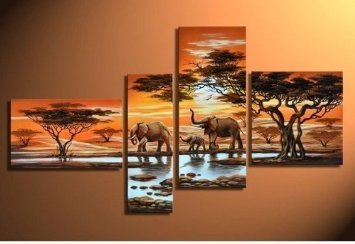 River and Elephants Modern Abstract Oil Painting on canvas 4 pcs