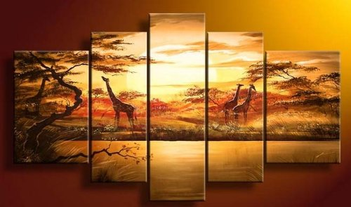 African Giraffe Forest Lake Sun Modern Abstract Art on canvas