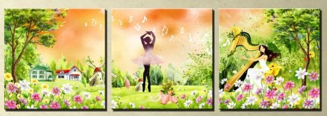Romantic Life Modern Abstract Oil Painting On Canvas 3 pcs