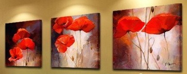 Asia Modern Abstract Wall Art Painting on Canvas of 3 pcs
