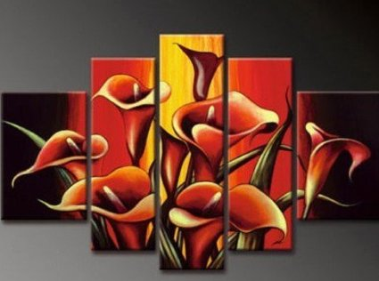 5 pcs of Splendid Lily Modern Abstract Oil Painting on canvas