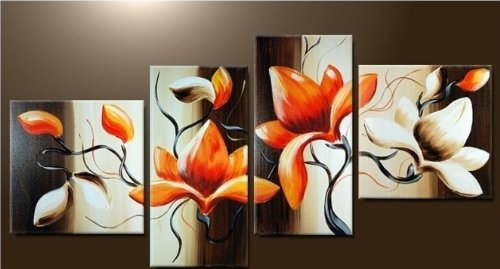 Beautiful Flowers Modern Abstract Oil Painting on canvas