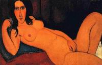 Amedeo Modigliani paintings Reclining Nude with Loose Hair 1917