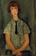 Reproduction of Young Girl in a Striped Blouse 1917