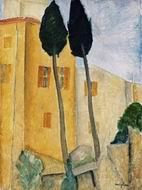Reproduction of Cypress Trees and Houses, Midday Landscape 1919