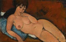 Amedeo Modigliani Paintings Nude on a Blue Cushion, 1917