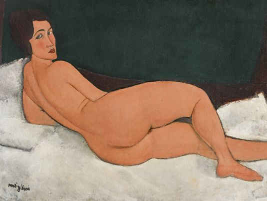 Modigliani paintings 1917 Nu couche a reclining nude woman