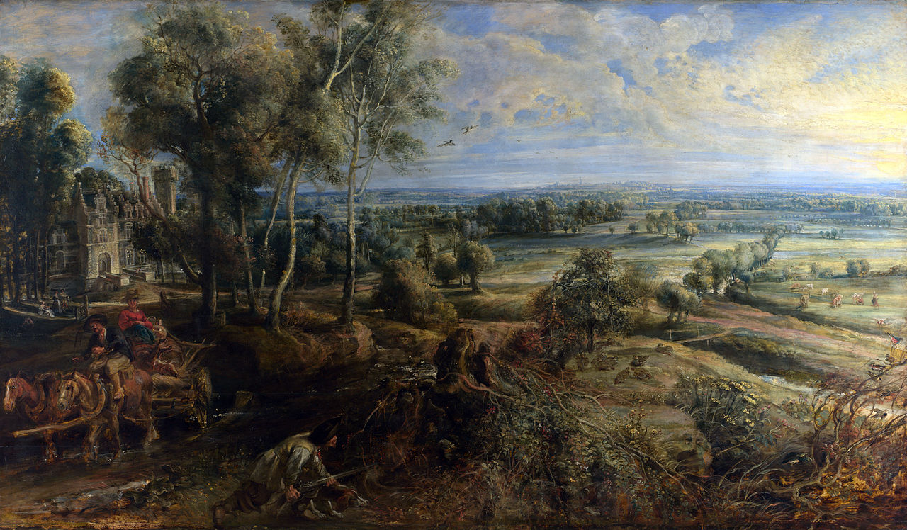 Peter Paul Rubens -The Château de Steen with Hunter, c. 1635–8