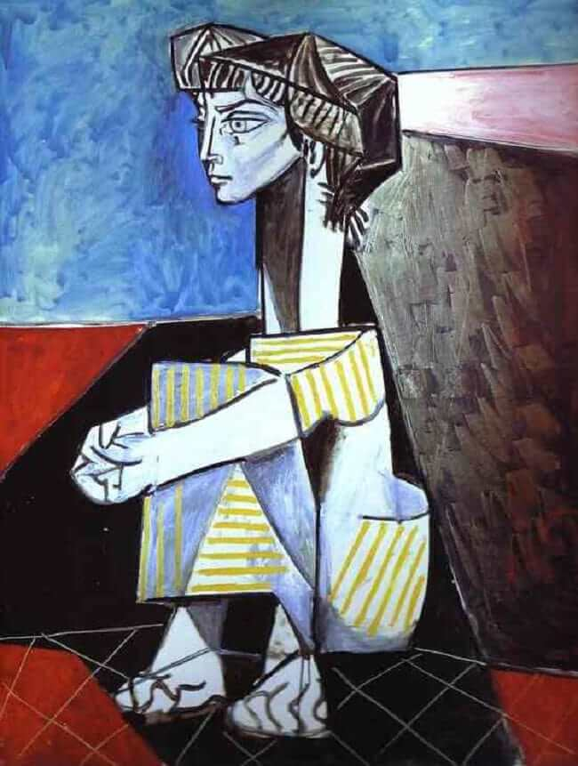 Reproduction oil painting Jacqueline Kneeling, 1954 by Picasso - Click Image to Close