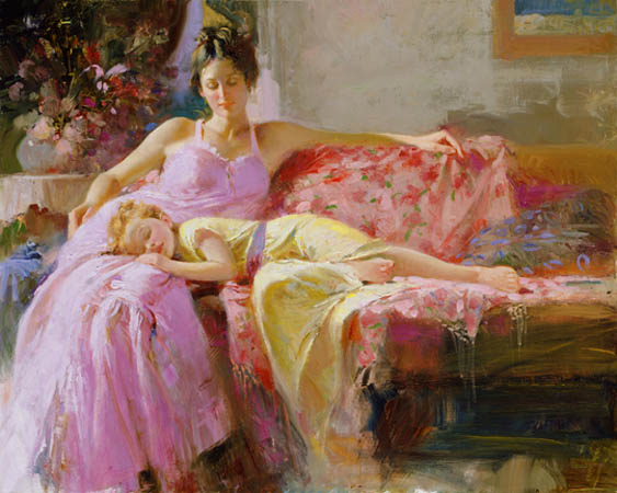Pino Daeni's oil painting on canvas art A Place In My Heart