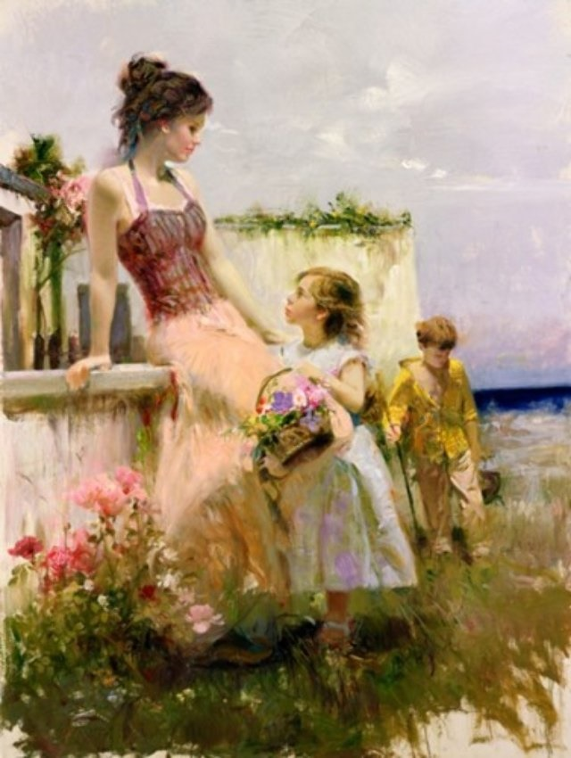 Pino Daeni Basket of Love Embellished Reproductions of paintings