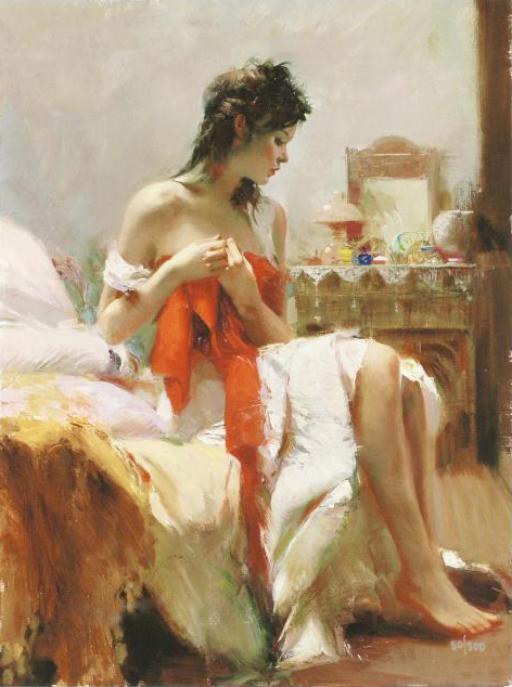 Pino daeni painting Expectations reproduction painting on canvas