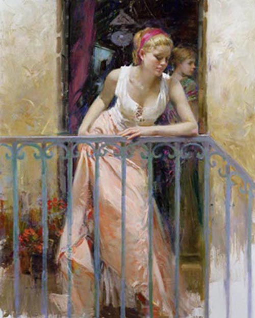 Pino Daeni At the Balcony reproductions of paintings on canvas
