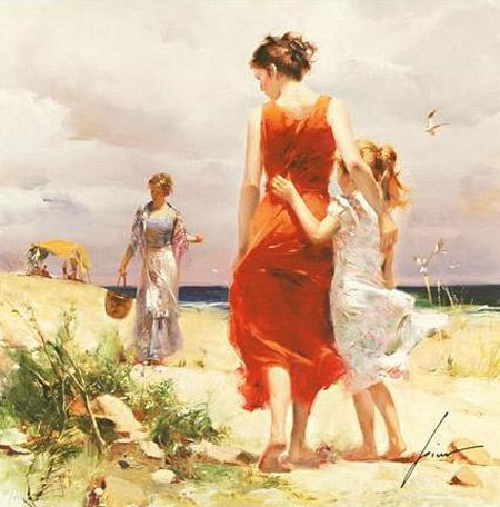 Pino Daeni's oil painting on canvas art Breezy Day