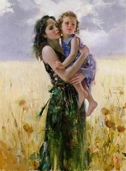 Pino Daeni's oil painting on canvas art Close To My Heart
