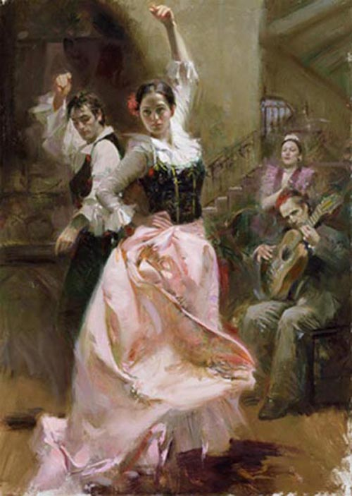 Pino Daeni painting Dancing In Barcelona Reproductions on canvas