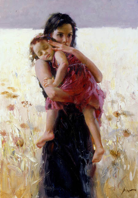 Pino Daeni paintings Maternal Instincts Reproductions on canvas