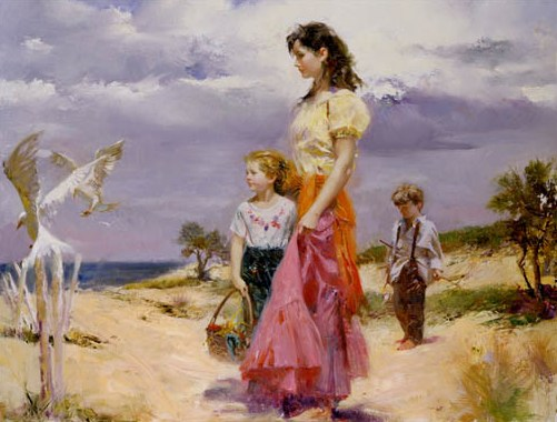 "36x24"" Reproduction of Pino Daeni's paintings Birds of Paradise"