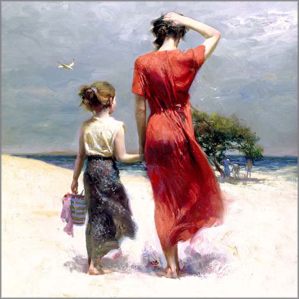 Pino Daeni paintings Afternoon Stroll Reproductions on canvas
